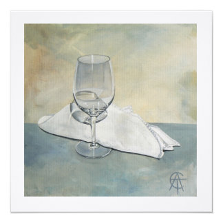 Square Greeting card - 'Glass and Napkin' Blank