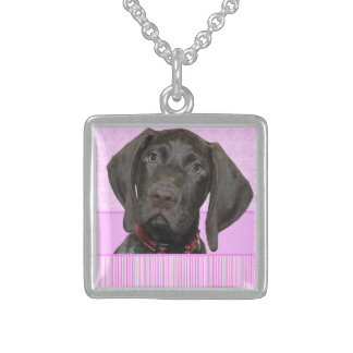 square    Grizzly girlspink baby 2.jpg Square Pendant Necklace