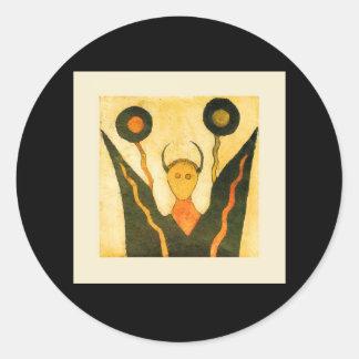 Square Hand Drum Native American Ceremonial Round Sticker