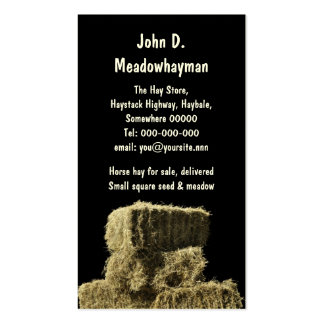 Square hay bales in a stack black background pack of standard business cards