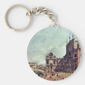 Square In Front Of San Giovanni E Paolo In Venice Basic Round Button Key Ring