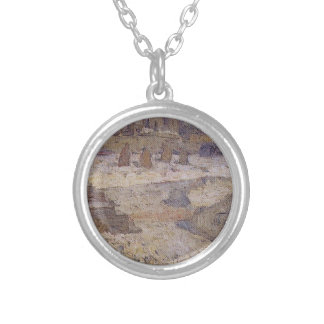 Square in front of the Museum of Fine Arts Round Pendant Necklace