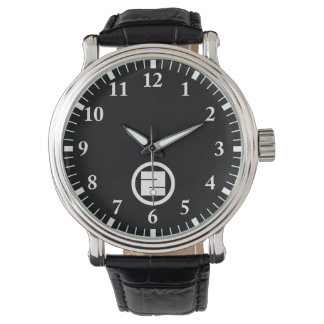 Square kanji character for ONE in circle Watch