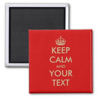 Square Keep calm magnet with faux gold letters