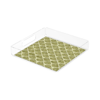 Square Leaf Pattern Gold Lime Light Acrylic Tray