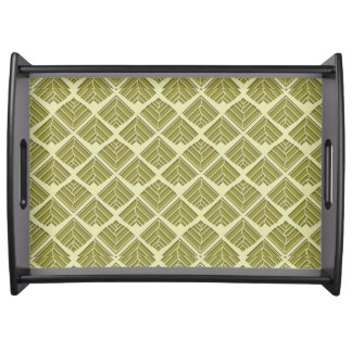 Square Leaf Pattern Gold Lime Light Serving Tray