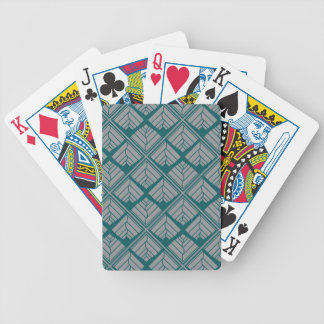 Square Leaf Pattern Teal Neutral Bicycle Playing Cards