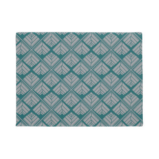 Square Leaf Pattern Teal Neutral Doormat