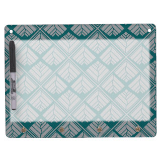 Square Leaf Pattern Teal Neutral Dry Erase Board With Key Ring Holder