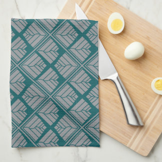 Square Leaf Pattern Teal Neutral Tea Towel