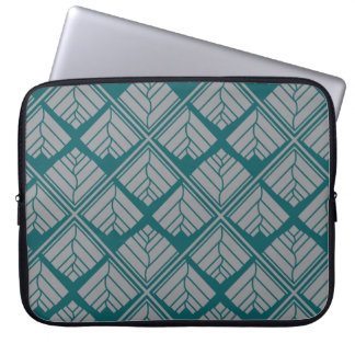 Square Leaf repeat Teal Gray Laptop Sleeve