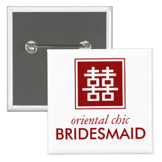 Square Logo Double Happiness Chinese Wedding 15 Cm Square Badge