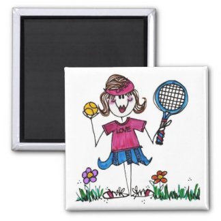 Square Magnet-Stick Tennis Girl Square Magnet