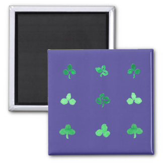 Square magnet with nine clover leaves