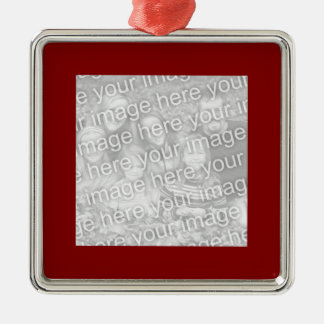 Square Maroon Border Photo Christmas Ornament