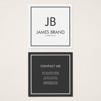 Square Minimalist Black and White Monogram Square Business Card