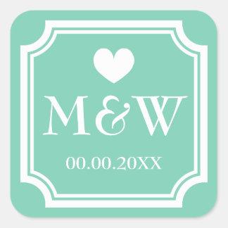 Square mint monogram wedding favor stickers seals