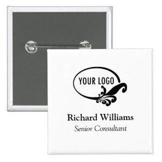 Square Name Button Pin Employee Staff Customer