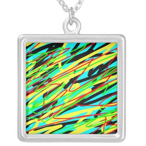 Square Necklace - Aqua Background