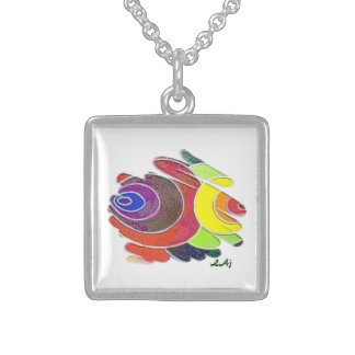 Square Necklace Rainbow Spirals on White