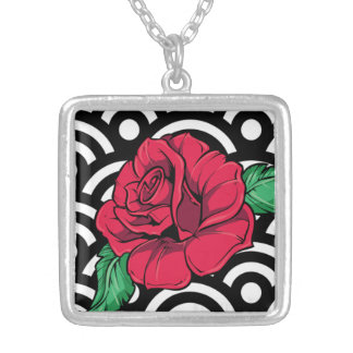 Square Necklace, Red Rose Square Pendant Necklace