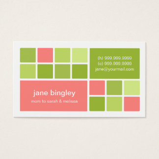 """""""Square One"""" Pink & Green Mommy Business Card"""