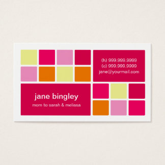 """""""Square One"""" Pink & Orange Mommy Business Card"""