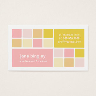 """""""Square One"""" Pink & Yellow Mommy Business Card"""
