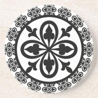 Square Ornate Green Damask Gothic Wedding Coasters