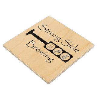 Square Paddle Logo - Wooden Coaster