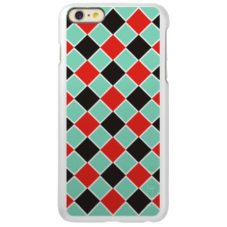 SQUARE Pattern - black red white + your background iPhone 6 Plus Case