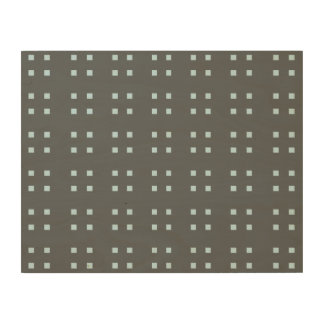 Square Pattern dark grey blue Wood Canvas