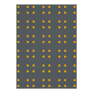 Square Pattern dark grey oranges Print