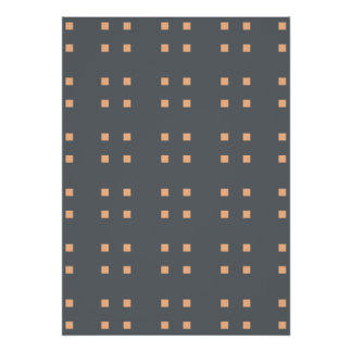 Square Pattern dark grey peach Print