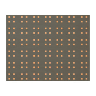 Square Pattern dark grey peach Wood Canvas