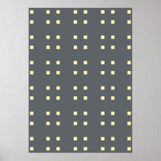 Square Pattern dark grey yellow Print
