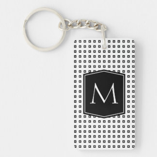 Square Pattern Monogram Customizable Single-Sided Rectangular Acrylic Key Ring
