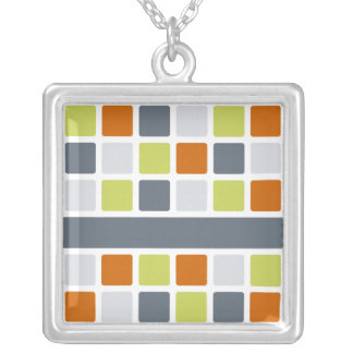 Square Pattern necklace, customize Silver Plated Necklace