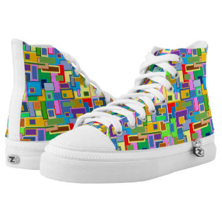 square pattern printed shoes