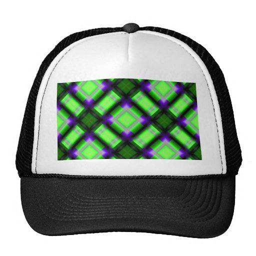 square pattern serie 1 green mesh hat