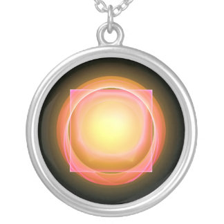 Square Peg in a Round Hole Silver Plated Necklace