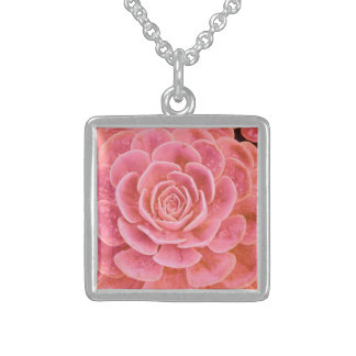Square Pendent with Pink Succulent Square Pendant Necklace