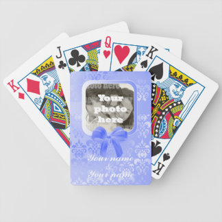 Square photo template on mauve damask bicycle playing cards