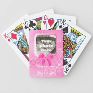 Square photo template on pink damask bicycle playing cards