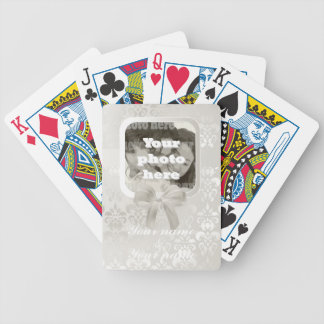 Square photo template on white damask bicycle playing cards