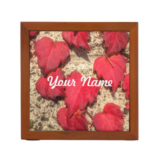 Square Photo Template Red Heart-Shaped Leaves Pencil Holder