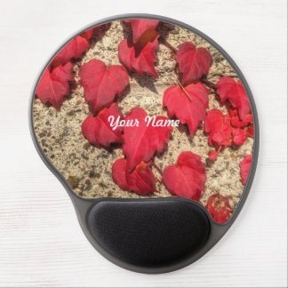Square Photo Template Red Heart-Shaped Leaves Gel Mouse Mats