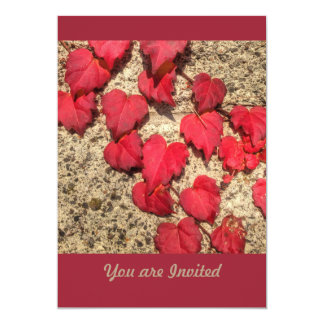 Square Photo Template Red Heart-Shaped Leaves 13 Cm X 18 Cm Invitation Card