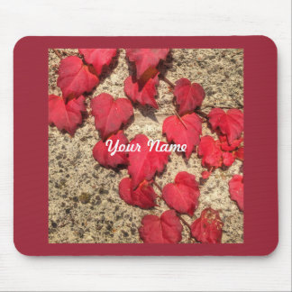 Square Photo Template Red Heart-Shaped Leaves Mouse Pad