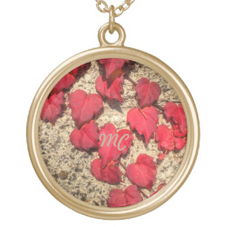 Square Photo Template Red Heart-Shaped Leaves Necklaces
